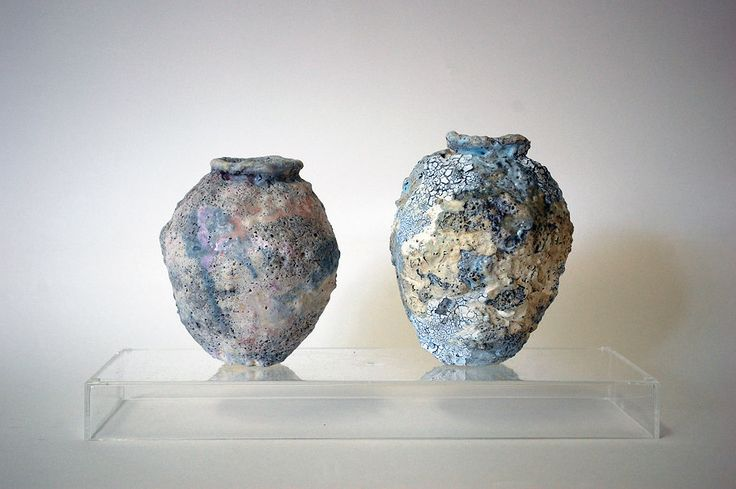 ALANA WILSON | COMPOSURE I & II. PORCELAIN PAPERCLAY WITH MIXED REACTIVE SLIPS & GLAZES. DIMENSIONS VARIABLE