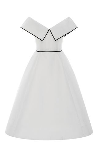 This **Elizabeth Kennedy** Off the Shoulder Pleated Cocktail Dress features an off-the-shoulder neckline with fabric overlay, a high rise waistline, and full tea length skirt.