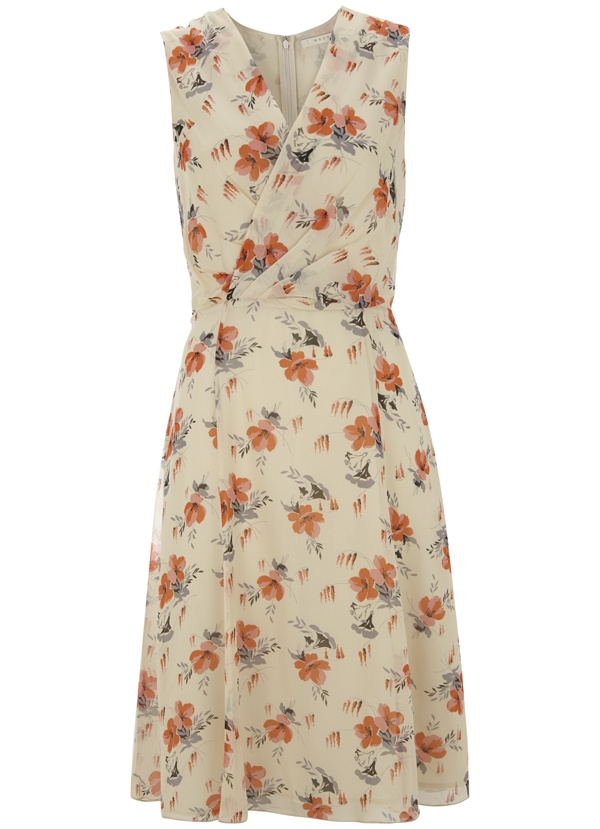 Rachel Print Sleeveless Dress in Coral Bloom
