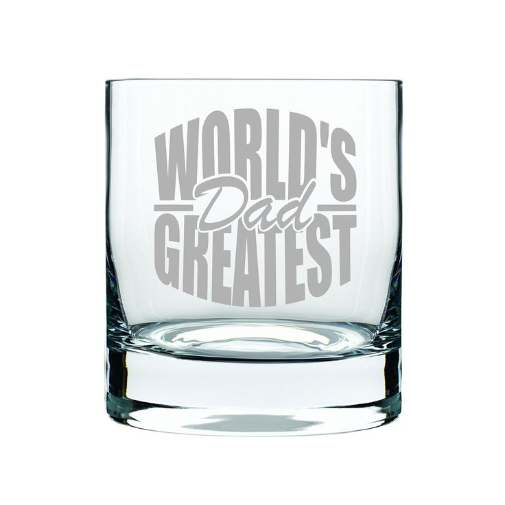 World's Greatest Dad 13 oz. whiskey rocks glass, permanently etched. Show dad that he is the Word's Greatest Dad with this 13 oz. whiskey glass. He will love enjoying a drink in his special glass. Permanently etched and dishwasher safe.