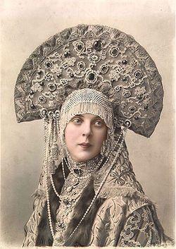 Princess Orlova-Davydova in Masquerade Costume for the Ball of 1903. The headdress is a traditional Russian headpiece called a кокошник, or kokoshnik. #slavic #royalty