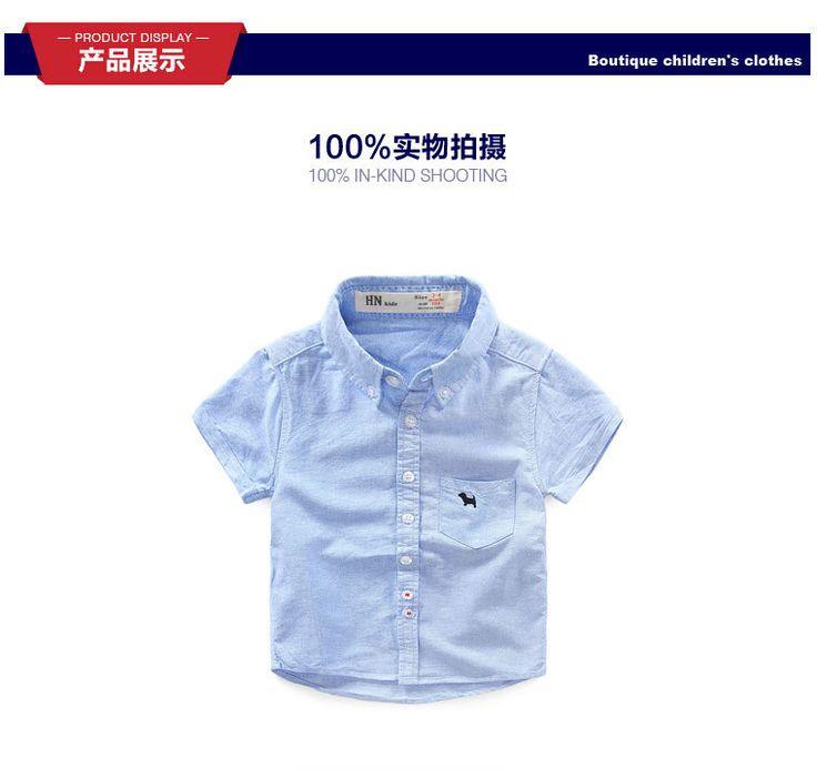 Рубашка детская одежда 2016 лето Корейские дети ребенок хлопка с коротким рукавом рубашки для 2-6 Т