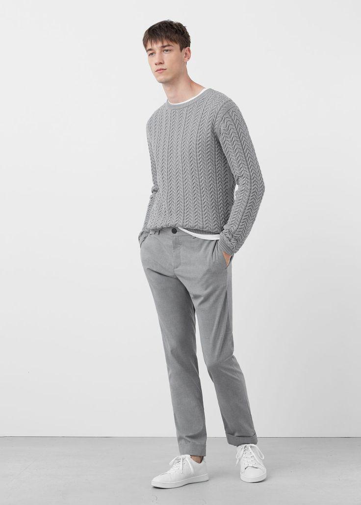 Jersey algodón diseño espiga - Jerséis y cárdigans de Hombre | MANGO Man España