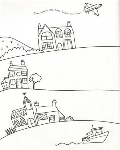 Teken de huizen in de straat