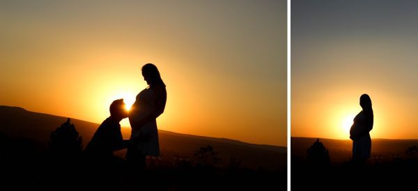 Bear & Bloom Photography. Maternity. Bump. Family. Mother & Father. Sunset. Silhouette.