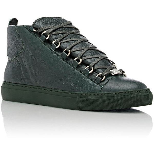 Balenciaga Arena High-Top Sneakers ($585) ❤ liked on Polyvore featuring men's fashion, men's shoes, men's sneakers, mens high top shoes, mens wide shoes, balenciaga mens sneakers, mens wide sneakers and mens lace up shoes