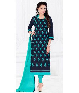 Blissful Blue And Green Cotton Salwar Suit.