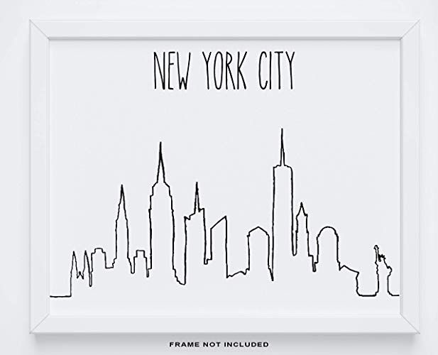 Amazon Com New York City Wall Decor 14x11 Unframed Print Modern Minimal Black And White Line Drawing Nyc S City Wall Art Nyc Skyline New York Drawing