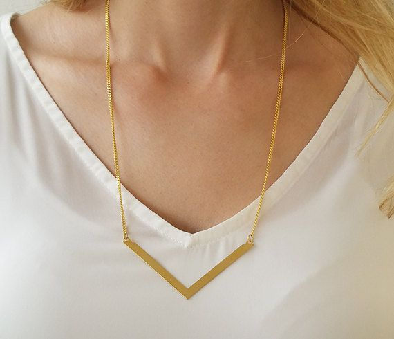 Gold Chevron Necklace Gold Long Necklace V by HLcollection on Etsy