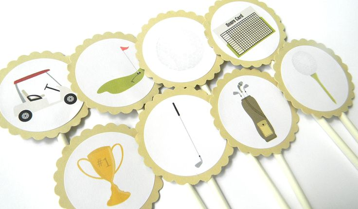 Golf Cupcake Toppers - Set of 12. Dazzle up your cupcakes with these golf theme cupcake toppers! They are the perfect addition to birthday parties, baby showers or weddings. This listing is for ONE DOZEN cupcake toppers as pictured. DETAILS: scalloped embellishments measure 2 inches, lollipop stick measures 4.5 inches and your toppers will come fully assembled!.