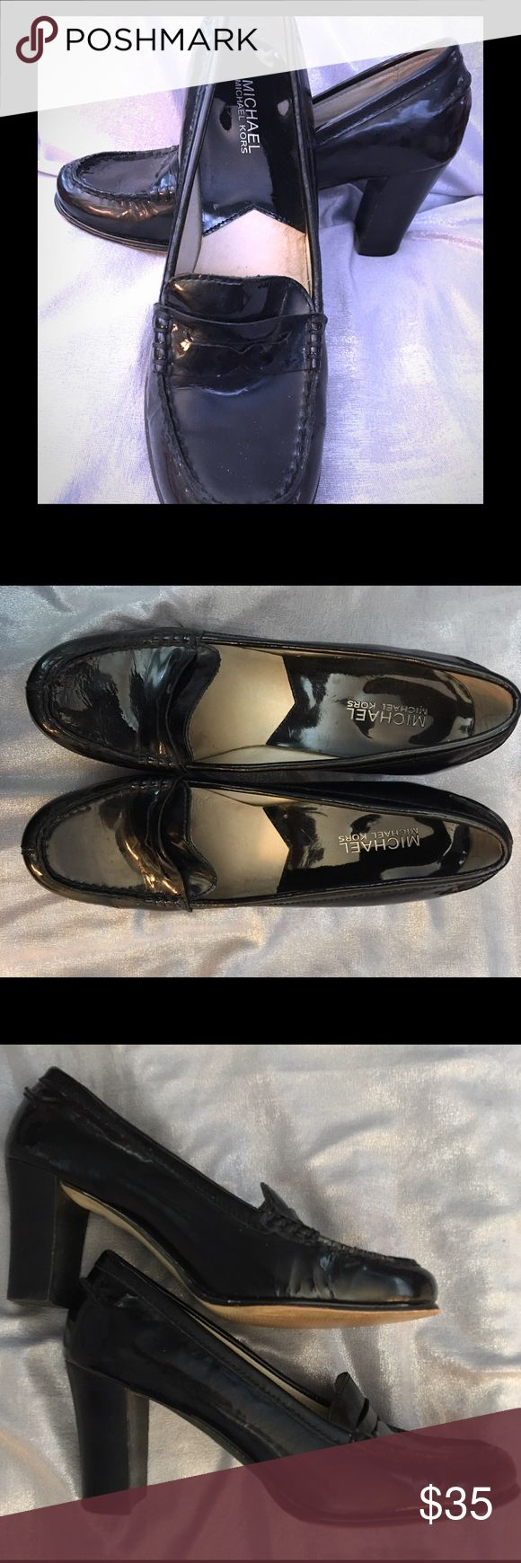 "Ultimate Penny Loafer by MK These are classic penny loafers with a twist. Black patent leather with rubber soles and heels 3"" wood heels. In very good condition. Michael Kors Shoes"