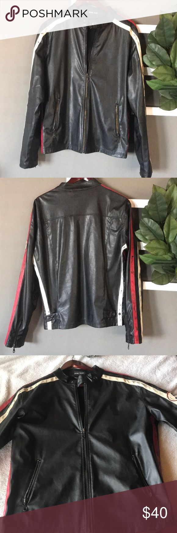 Pop Icon Motorcycle Jacket Supper cute!! Size M! Unisex. Has a crack on the back of the right arm (please see picture) has some others that I'm not so sure if they go with the design. Other than that it's still pretty cute. POP ICON CLOTHING Jackets & Coats