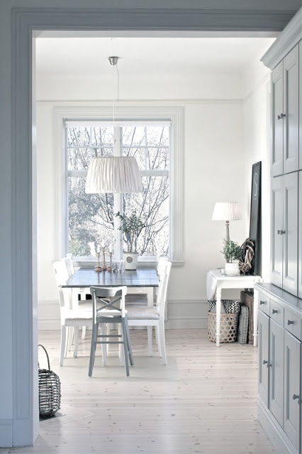 Pale blue/grey and white work well in kitchen.  Could we keep the cabinets the colour they are now?