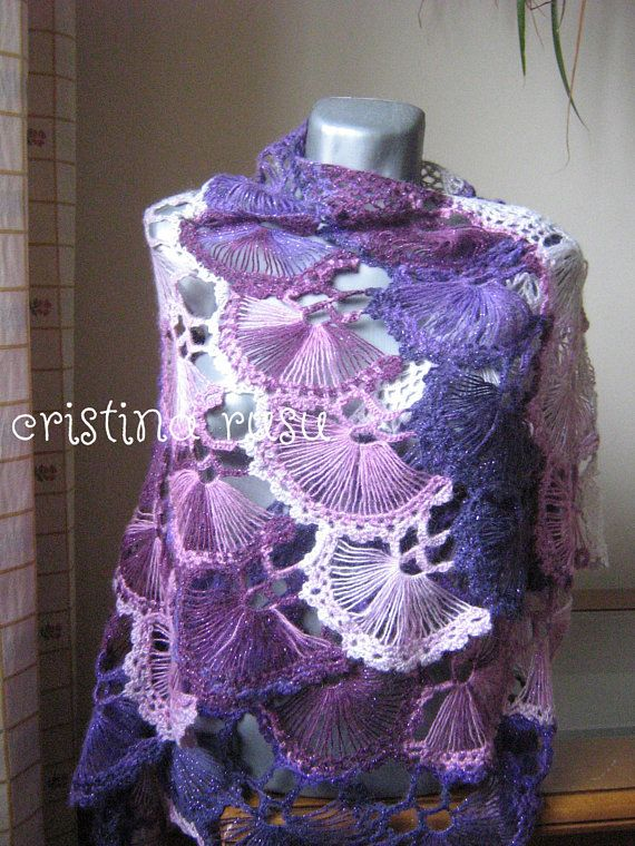 Spring crochet triangle shawl ,Purple shawl ,pink shawl ,Mohair shawl, Crochet shawl ,Gifts for her ,Wedding, gift for her, gift for mom