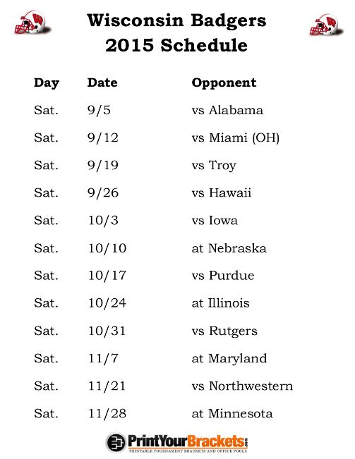Printable Wisconsin Badgers Football Schedule