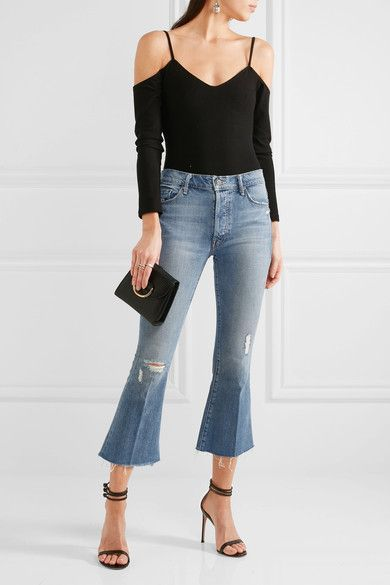 Mother - The Nomad Cropped Distressed Mid-rise Flared Jeans - Mid denim - 29