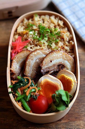 Tonkotsu ramen-style traditional bento box, featuring all of the classic ramen toppings with rice