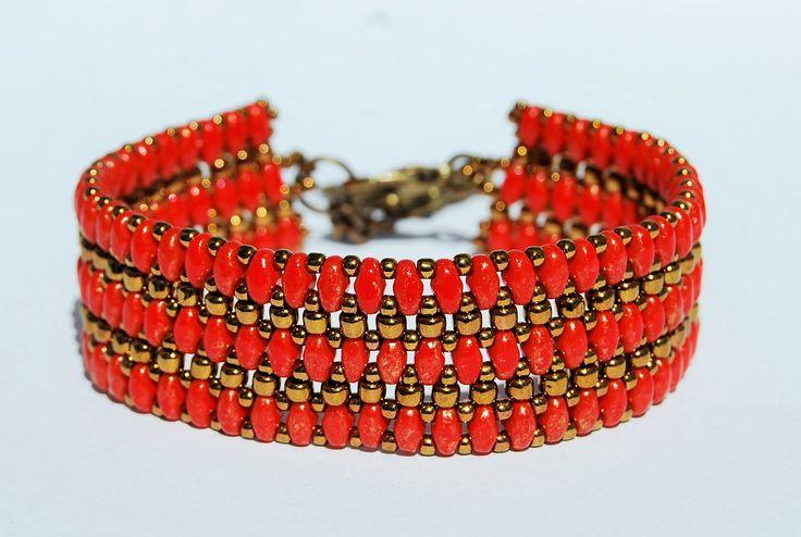 Bransoletka z koralików Twin beads. Dostępna na zamówienie w sklepie http://www.korallove.com
