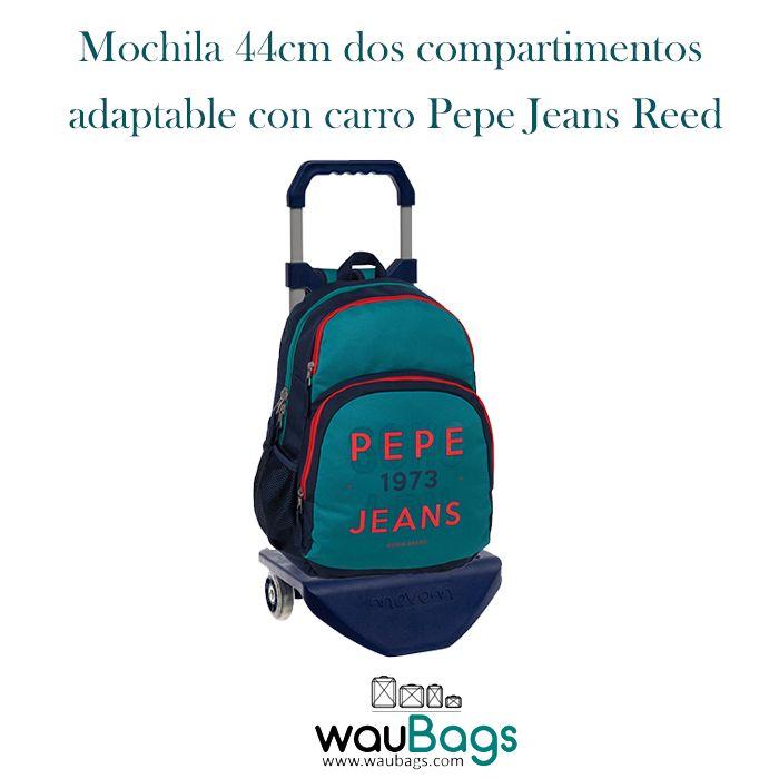 La Mochila de 44cm Pepe Jeans Reed adaptable con carro tiene dos compartimentos con cierre de cremallera, un bolsillo delantero, 2 bolsillos laterales de rejilla donde podrás colocar una botella de agua pequeña o algún refresco y salida de audio en el lateral, además de un asa en la parte superior y dos asas acolchadas para llevarla cómodamente en la espalda. @waubags #pepejeans #pepe #mochila #carro #mochilaconcarro #escolar #waubags