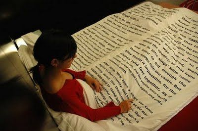 Bed sheet books!! Thats cool. :P