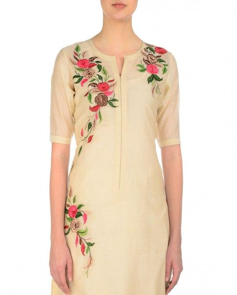 Beige straight fit long kurta with multicolor floral thread embroidery. Round neckline. Elbow sleeves. Churidar leggings worn by the model are for styling purpose onlyWash Care: Dry clean only