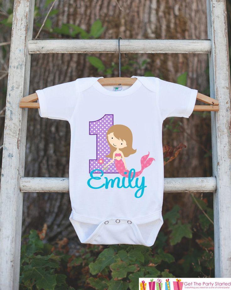 First Birthday Mermaid Bodysuit - Personalized Bodysuit For Girl's 1st Birthday Party - Mermaid Onepiece Birthday Outfit With Name and Age