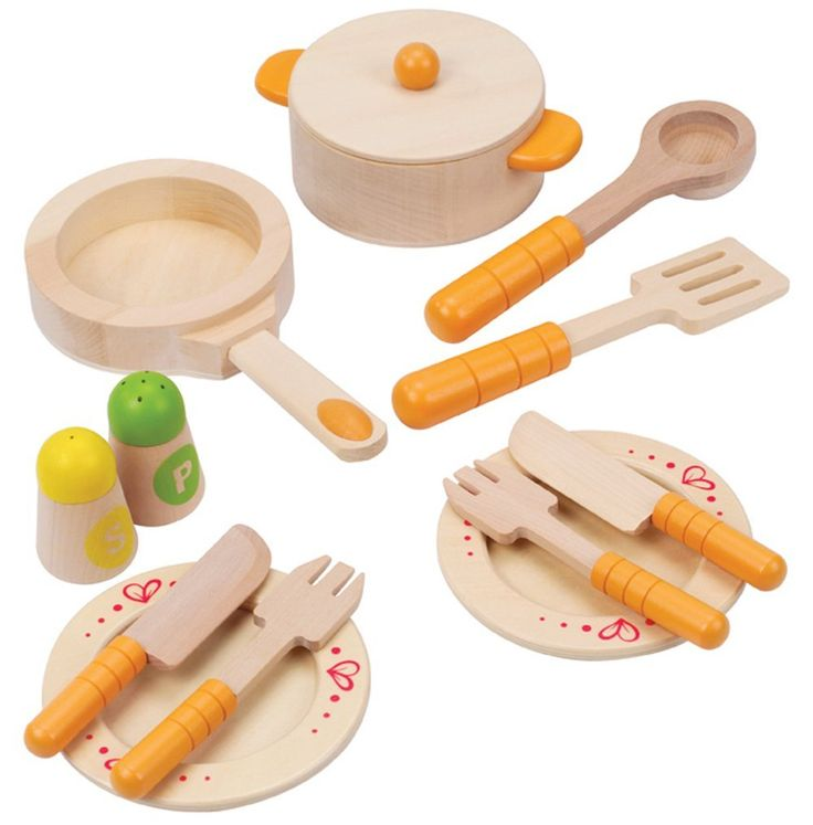 Hape Gourmet Kitchen Starter Set.. made from sustainable maple wood. Fun AND eco-friendly!