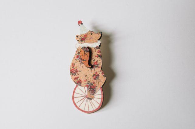Circus Bear Wooden Brooch £14.95
