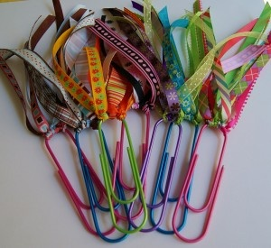 Paper clip ribbon bookmarks.