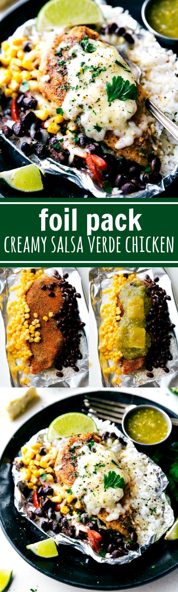 EASY FOIL PACKET Creamy salsa verde chicken with rice and veggies all cooked at once in a foil packet! No need to pre-cook the rice or chicken. This dish takes no more than 10 minutes to assemble and is bursting with delicious Mexican flavor! Also, make these packets into TACOS for another quick and easy dinner.