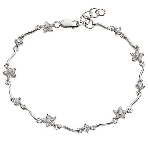 A beautiful silver bracelet provides the base for 10 pretty flowers, each set with cubic zirconia stones. Fabulously feminine, it's stunning sparkle gives your jewellery collection a glamorous edge and this is an elegant option to wear with your favourite eveningwear.