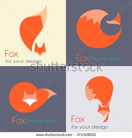Set fox sign, illustration and symbol. collection of vector icons