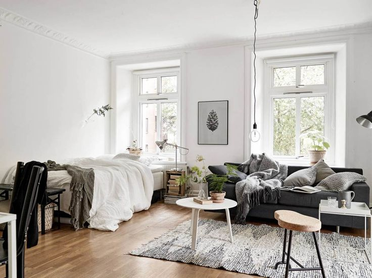 Beautiful and Efficient Design in a One-Room Apartment Shop this look: rug,  coffee table, white chair.