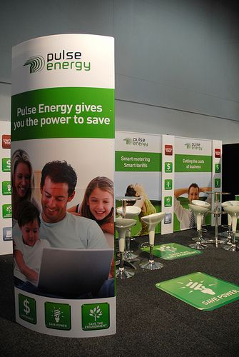 Pulse Energy exhibition stand with a large Fin Tower acting as an icon on the corner of their exhibition space