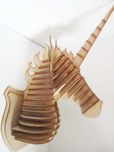 cabeza unicornio mdf cabeza de animal trofeo rompecabezas 3d