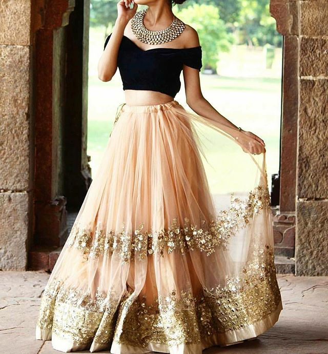 Modern lehenga with off the shoulder blouse - good idea for an indian wedding reception (and then add some bling)