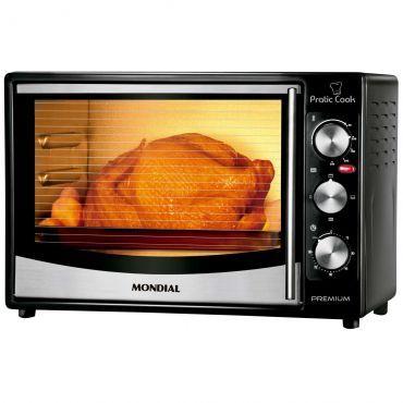 Forno Elétrico Mondial Pratic Cook 32 litros FR-10 preto em Inox << R$ 21990 em 7 vezes >>