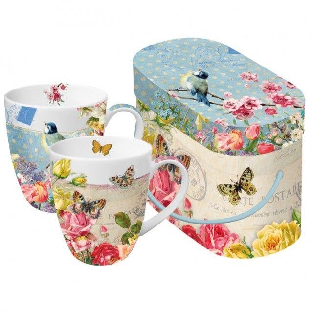 Mugs - Vintage Bird and Butterflies