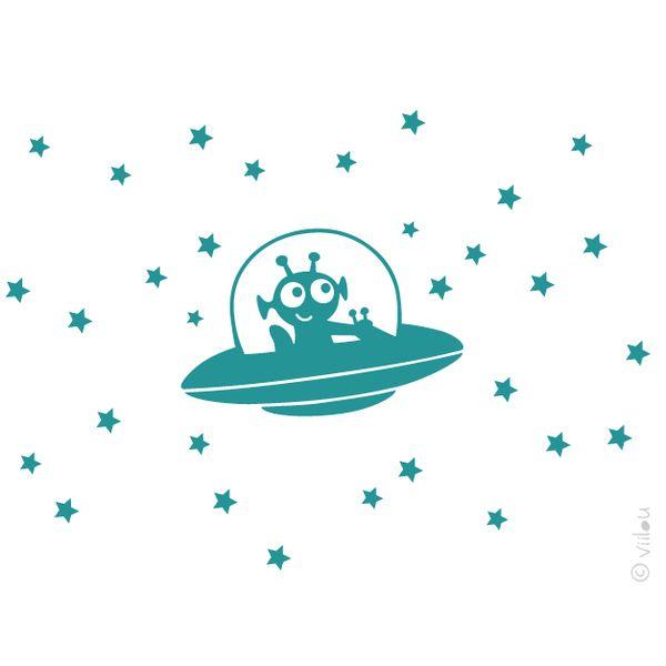 Spectacular Wandaufkleber UFO im Weltall Wandtattoo walltattoo