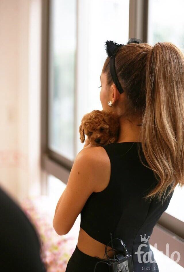 Ariana Grande with her adorable little puppy! ^_^ Follow !