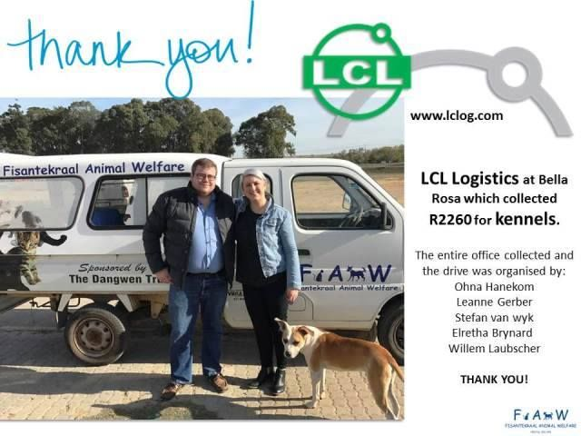 We had a visit from Ohna Hanekom and Willem Laubscher from LCL Logistics (www.lclog.com) at our containers. These kind folks handed over a whopping R 2 260 for kennels! The money was collected by a committee at their offices in Bella Rosa.  THANK YOU! We have already ordered the kennels. X  Of course, our good friend, Killer, had to greet them