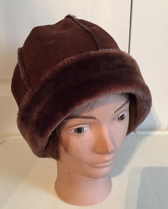 2addd630d26001 80s Brown Faux Fur Bucket Women Hat Large Warm Balimel | Vintage ...