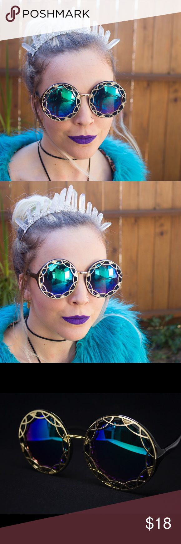 New Color! Blue Green Ornate Round Burner Sunnies Beautiful brand NWT in packaging black oversized round sunglasses with ornate gold geometric detailing and blue/green reflective uv400 lenses. Frames are plastic with metal detail. Absolutely perfect for Coachella or LiB or any festivals you may be going to 💖The lens colors look more green/blue depending on the light. These are super cool!!🌞🌈💕☺️ ask about my 2/$30 bundle deal on sunnies! Check out my other listings for more color options…