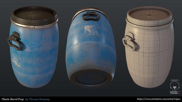 Plastic Barrel Prop, Thomas Dempsey on ArtStation at https://www.artstation.com/artwork/3ad6o