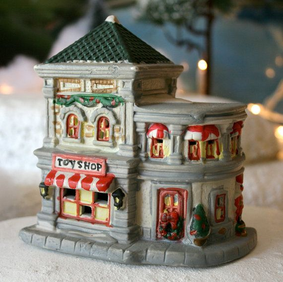Christmas Decoration. Toy Shop Ceramic Building Hand