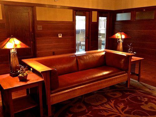 Upstairs Lobby    Historic Park Inn Hotel [Frank Lloyd Wright arch.], Mason City, Iowa