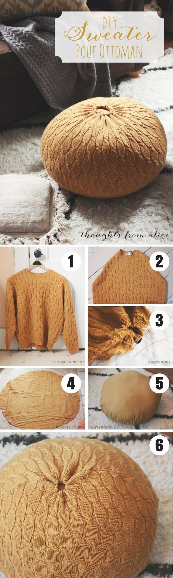 Check out how to turn an old sweater into a DIY pouf @istandarddesign