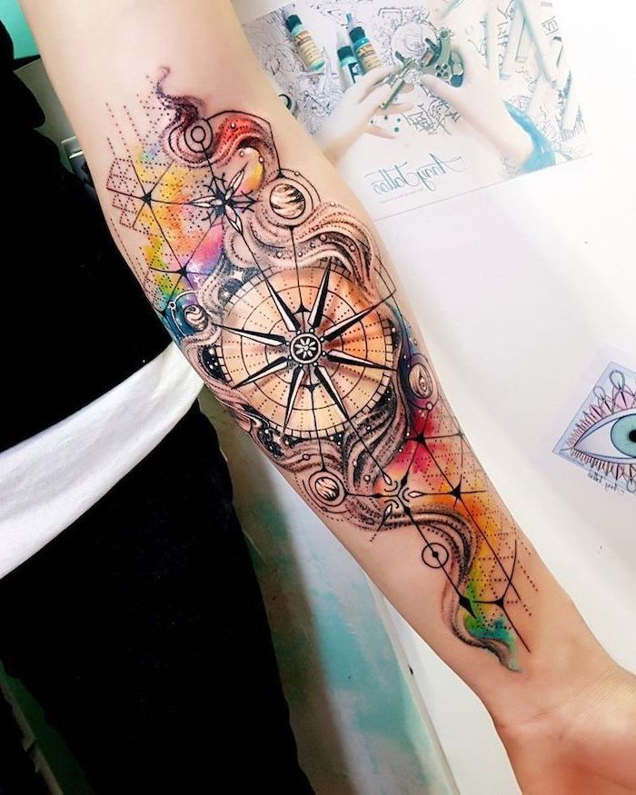 Large Forearm Tattoo Nautical Compass Tattoo Watercolor Geometric Design White Background In 2020 Unique Tattoos For Men Tattoos For Guys Inner Forearm Tattoo