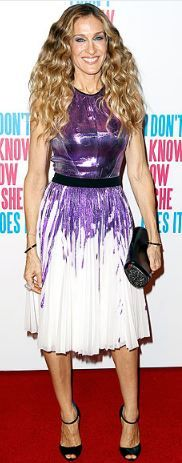 Who made Sarah Jessica Parker's black sandals, black clutch, and purple sequin dress that she wore in Melbourne?