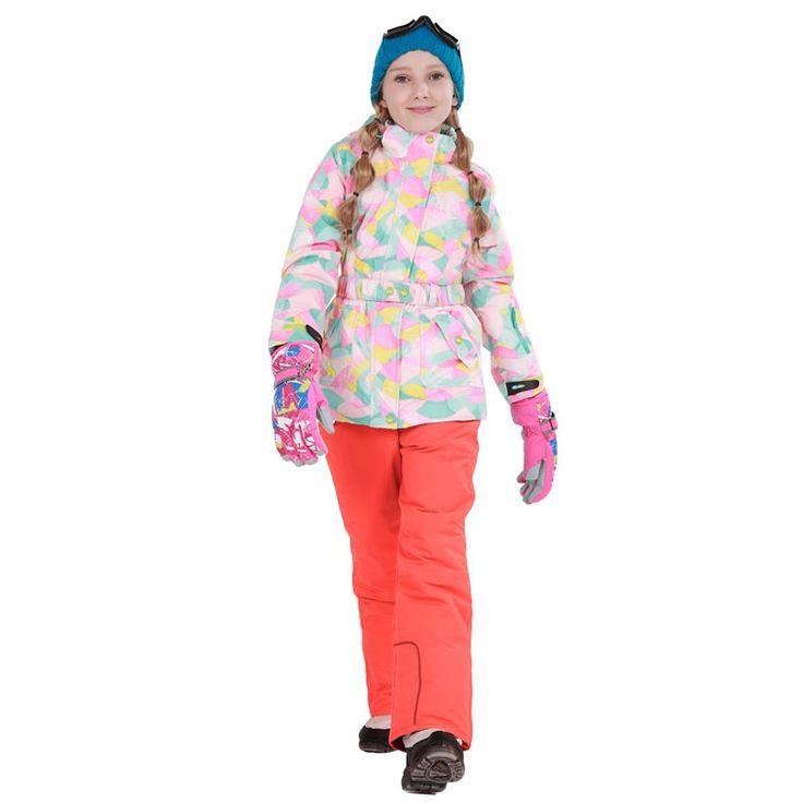 Detector Girls Ski Suit Waterproof Kids Ski Jacket Ski Pants thermal boys Phibee high quality Winter Clothing -30 degree